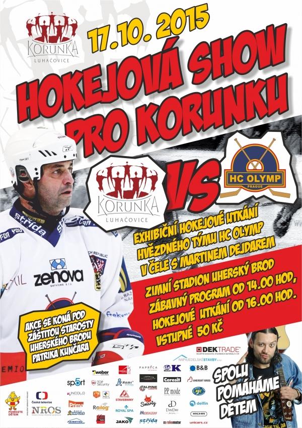 Plakát hokejového utkání Luhačovice vs HC Olymp Praha
