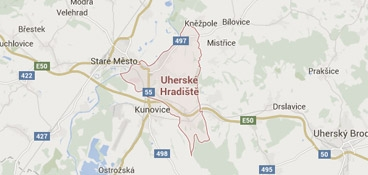 Mapa - pokrytí bezpečnostní agentura Uherské Hradiště