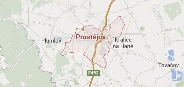 Mapa - pokrytí bezpečnostní agentura Prostějov
