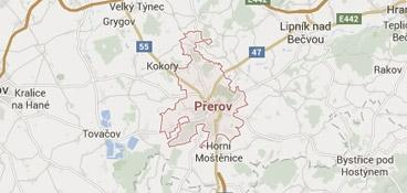 Mapa - pokrytí bezpečnostní agentura Přerov
